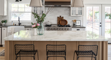 Porcelain Island and satin finish kitchen countertops 2